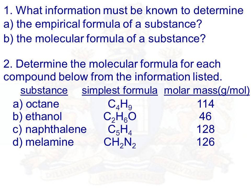 1. What information must be known to determine a) the empirical formula of a substance.