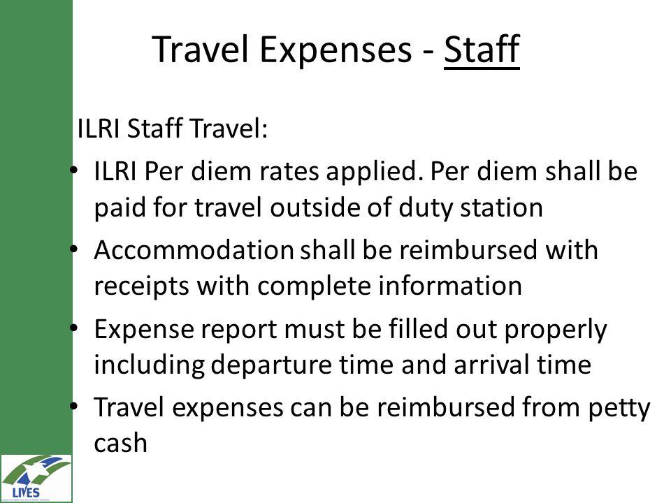 Travel Expenses - Staff ILRI Staff Travel: ILRI Per diem rates applied.