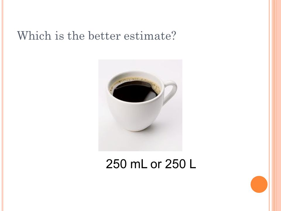 Which is the better estimate? 250 mL or 250 L