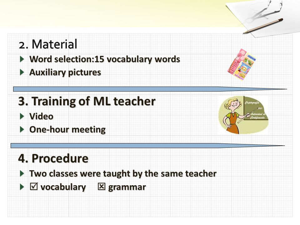 Word selection:15 vocabulary words Auxiliary pictures 3. Training of ML teacher Video One-hour meeting 4. Procedure Two classes were taught by the sam