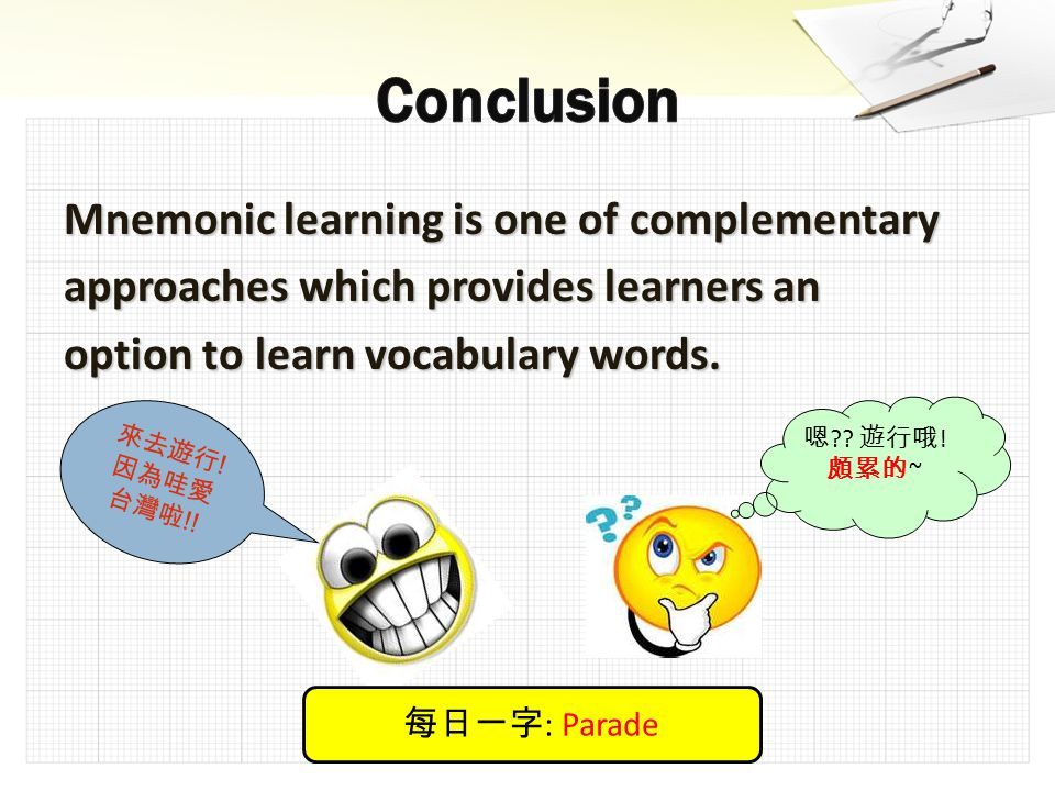 Mnemonic learning is one of complementary approaches which provides learners an option to learn vocabulary words.