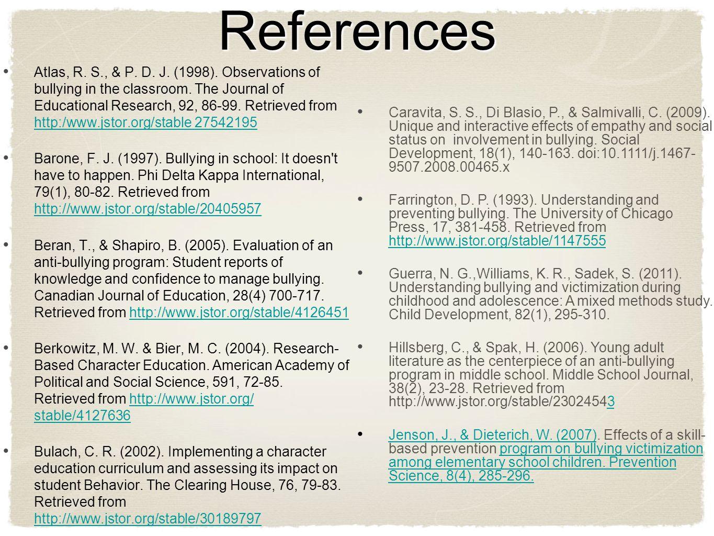 References Continued...Joliffe, D., & Farrington, D.P.