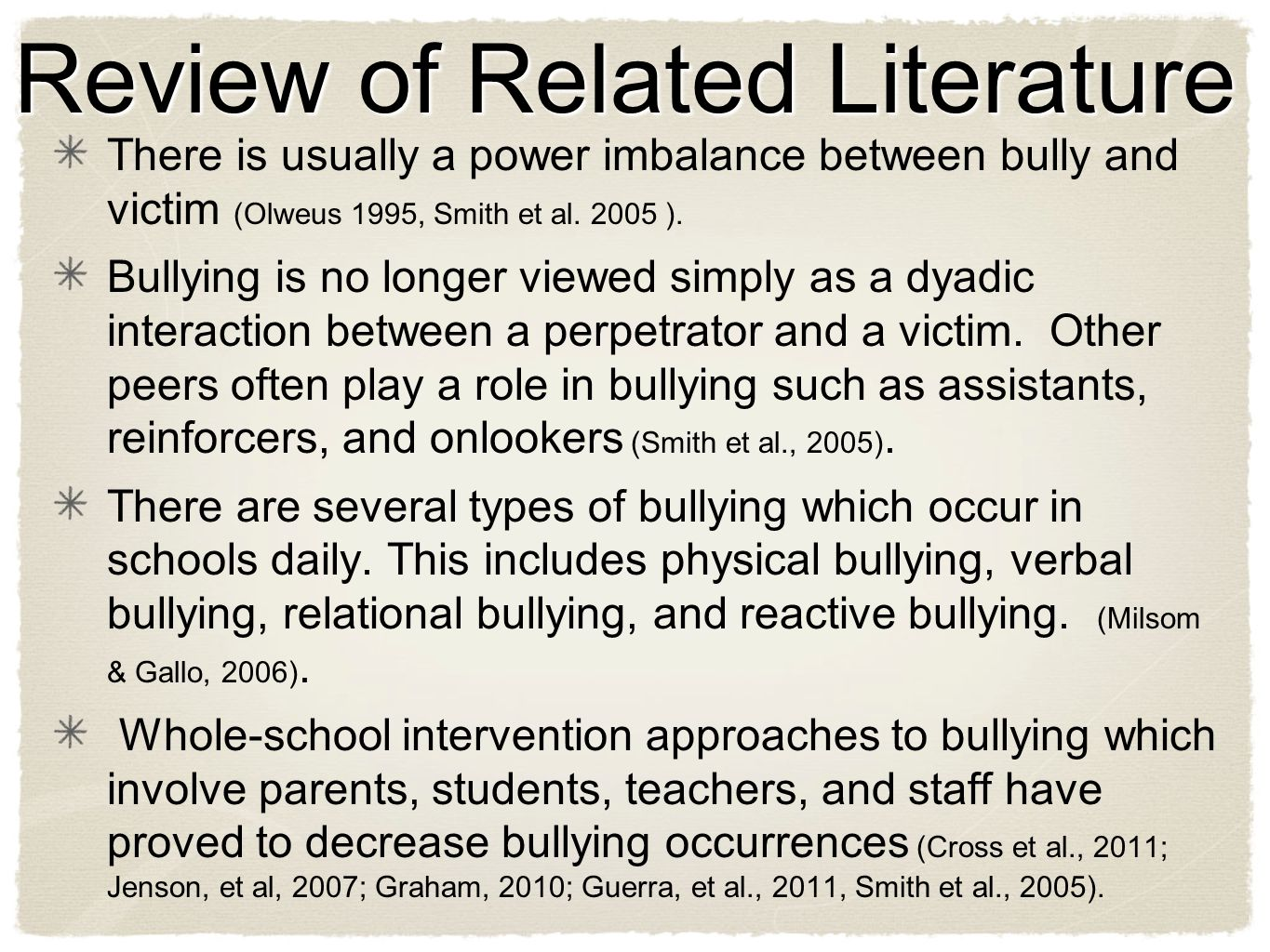 There is usually a power imbalance between bully and victim (Olweus 1995, Smith et al.