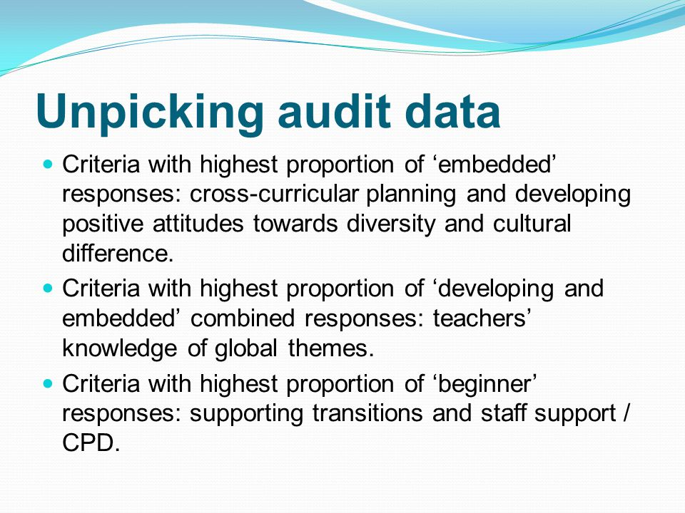 Unpicking audit data Criteria with highest proportion of 'embedded' responses: cross-curricular planning and developing positive attitudes towards diversity and cultural difference.