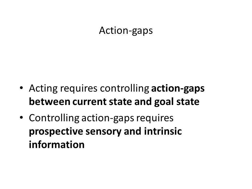 Action-gaps Acting requires controlling action-gaps between current state and goal state Controlling action-gaps requires prospective sensory and intrinsic information