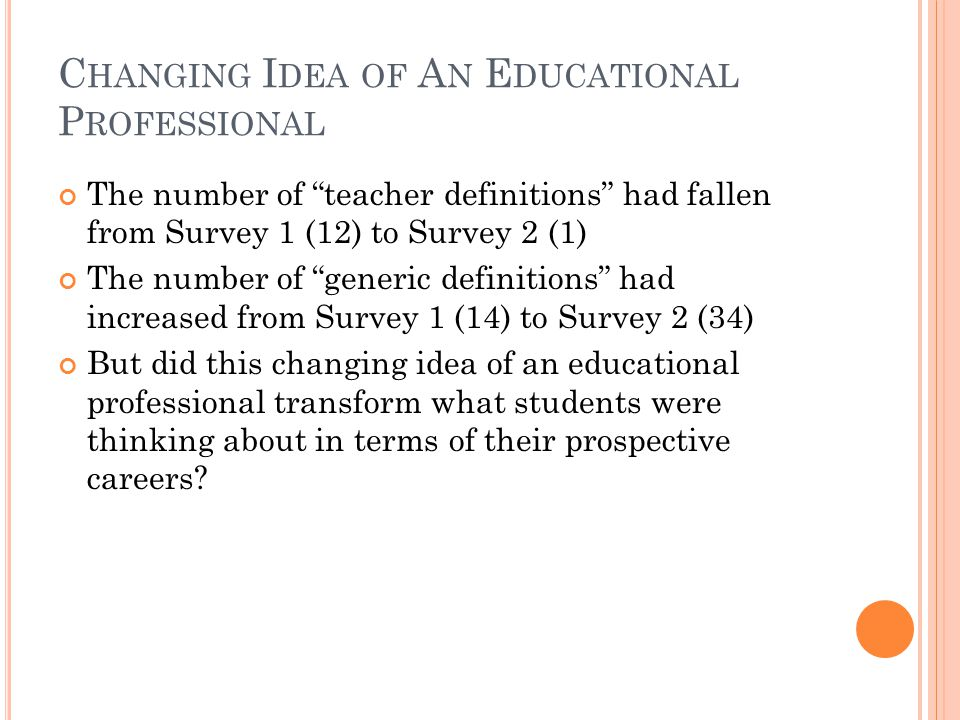 C HANGING I DEA OF A N E DUCATIONAL P ROFESSIONAL The number of teacher definitions had fallen from Survey 1 (12) to Survey 2 (1) The number of generic definitions had increased from Survey 1 (14) to Survey 2 (34) But did this changing idea of an educational professional transform what students were thinking about in terms of their prospective careers