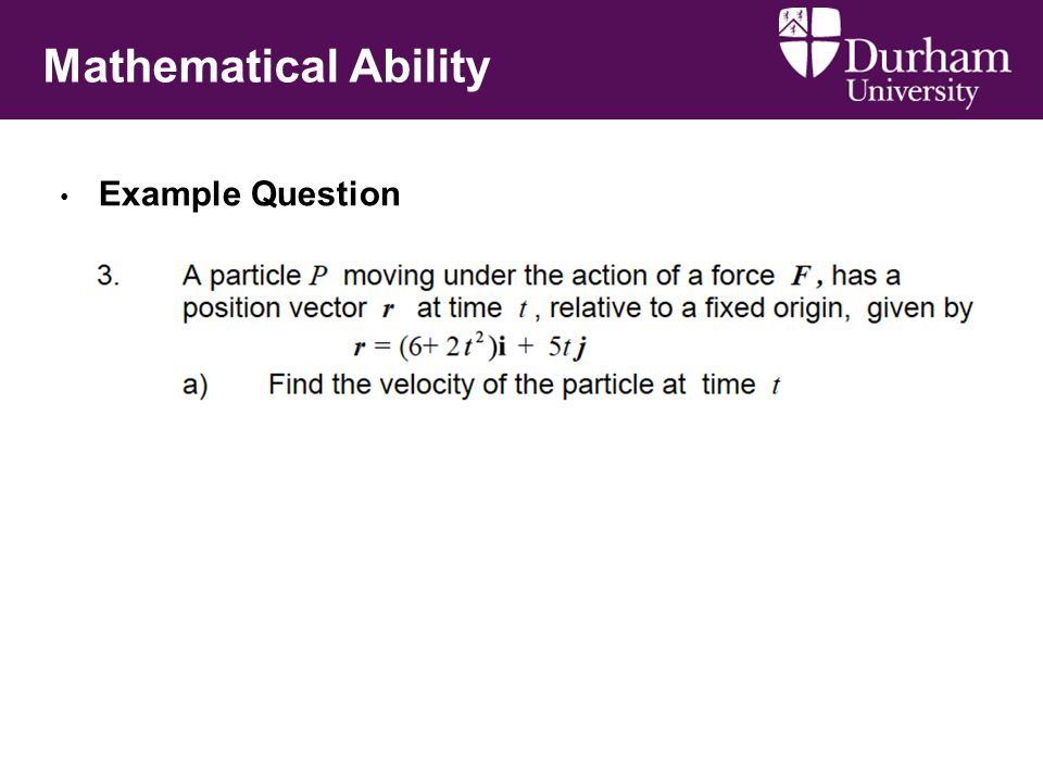 Mathematical Ability Example Question