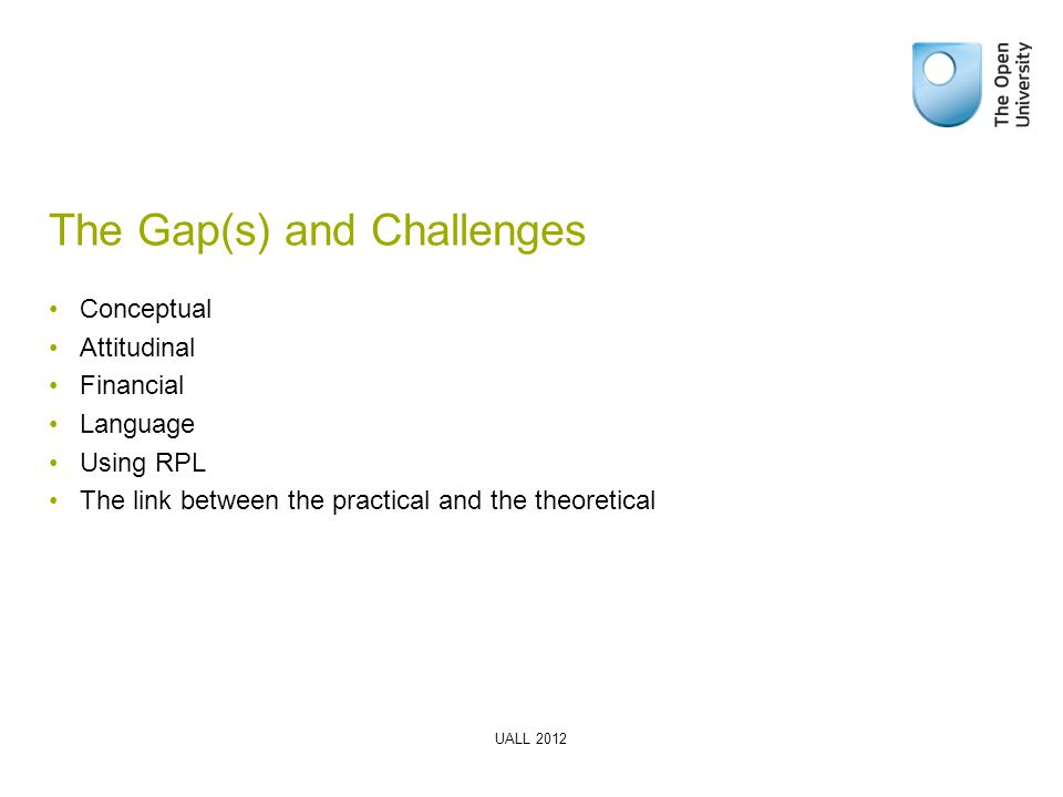 The Gap(s) and Challenges Conceptual Attitudinal Financial Language Using RPL The link between the practical and the theoretical UALL 2012