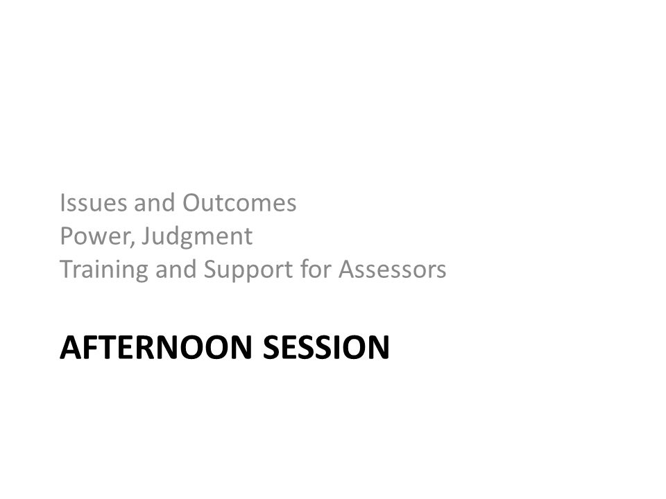 AFTERNOON SESSION Issues and Outcomes Power, Judgment Training and Support for Assessors