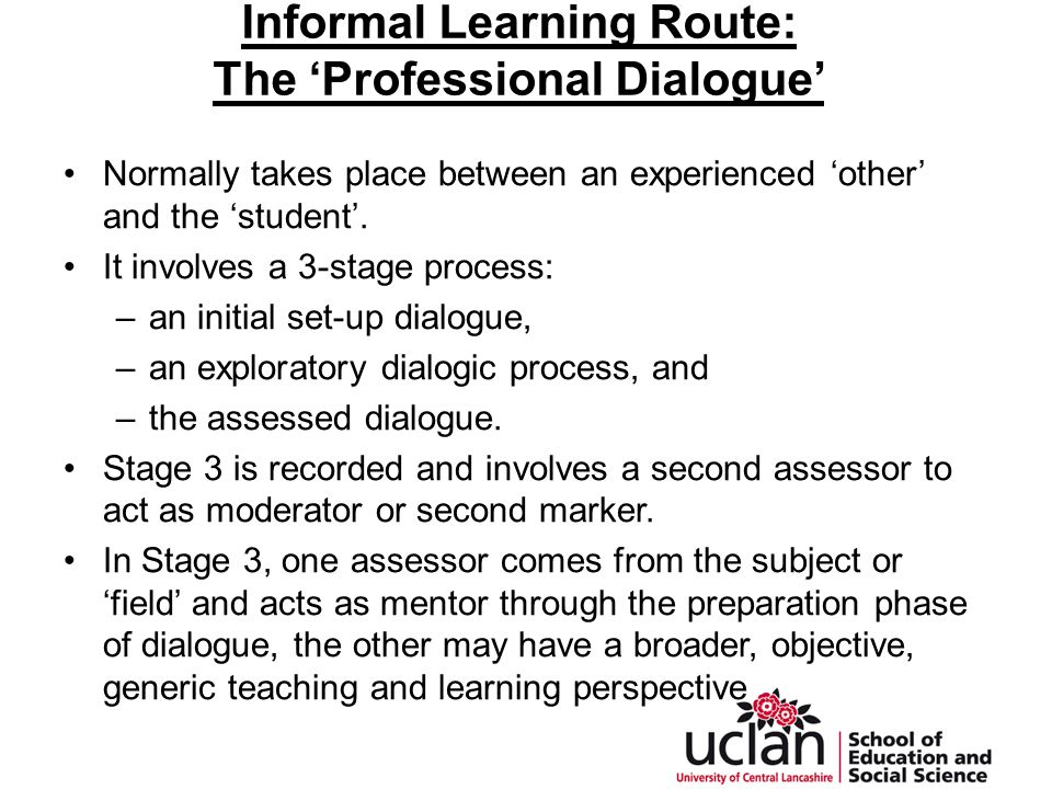 Informal Learning Route: The 'Professional Dialogue' Normally takes place between an experienced 'other' and the 'student'.