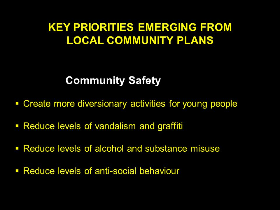 KEY PRIORITIES EMERGING FROM LOCAL COMMUNITY PLANS Community Safety  Create more diversionary activities for young people  Reduce levels of vandalism and graffiti  Reduce levels of alcohol and substance misuse  Reduce levels of anti-social behaviour