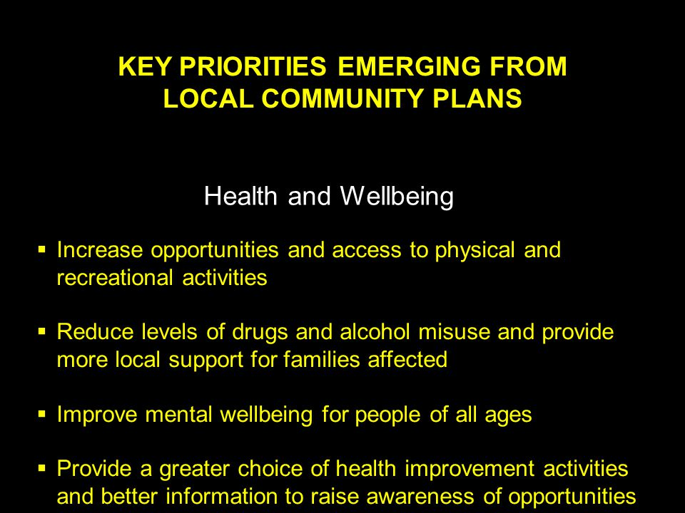 KEY PRIORITIES EMERGING FROM LOCAL COMMUNITY PLANS Health and Wellbeing  Increase opportunities and access to physical and recreational activities  Reduce levels of drugs and alcohol misuse and provide more local support for families affected  Improve mental wellbeing for people of all ages  Provide a greater choice of health improvement activities and better information to raise awareness of opportunities