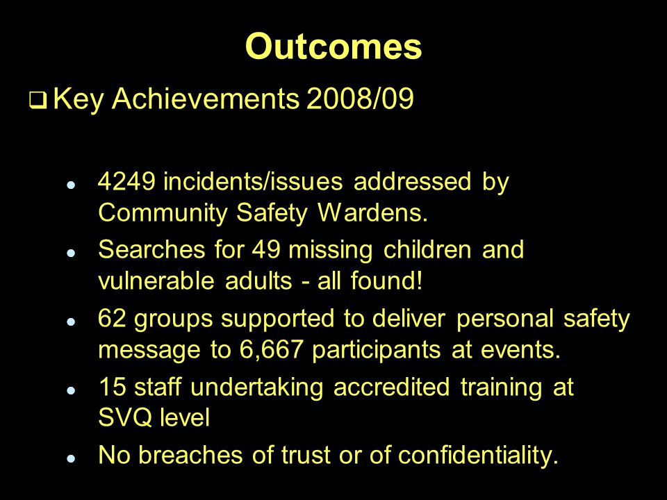 Outcomes   Key Achievements 2008/ incidents/issues addressed by Community Safety Wardens.