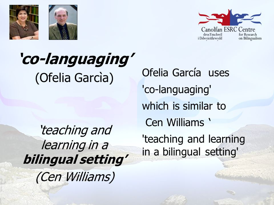 'co-languaging' (Ofelia Garcìa) 'teaching and learning in a bilingual setting' (Cen Williams) Ofelia García uses 'co-languaging' which is similar to C