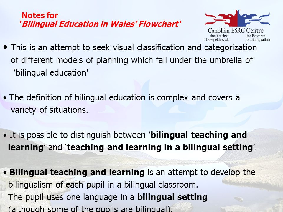 Notes for 'Bilingual Education in Wales' Flowchart ' This is an attempt to seek visual classification and categorization of different models of planni