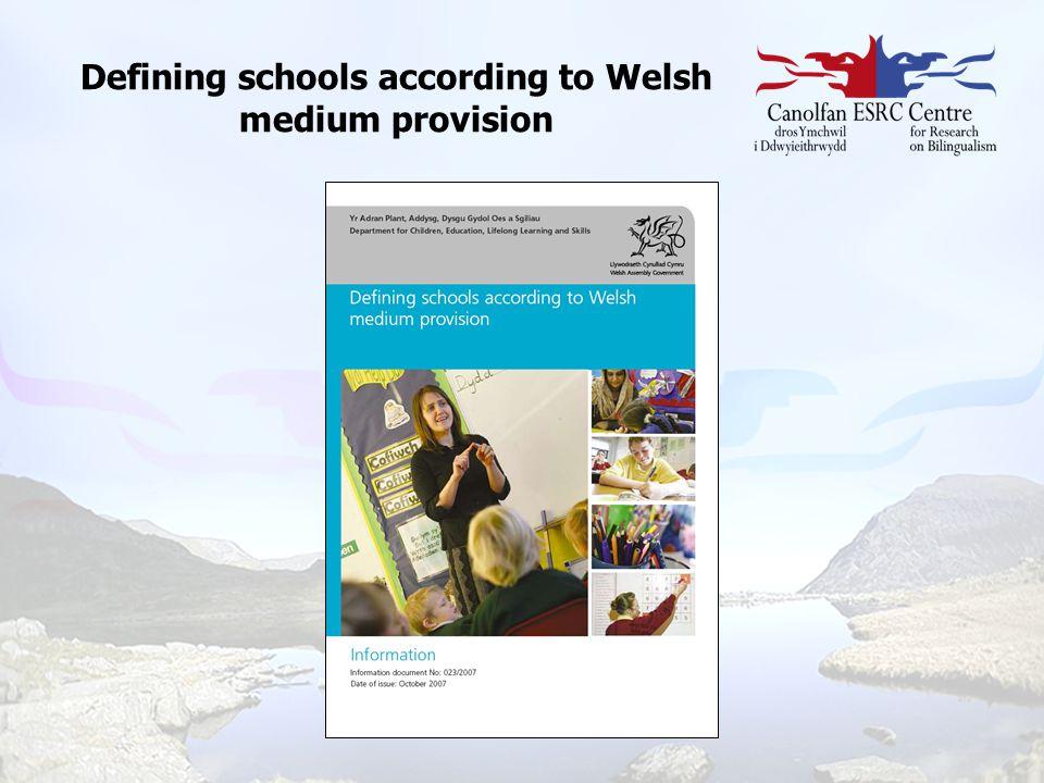 Defining schools according to Welsh medium provision