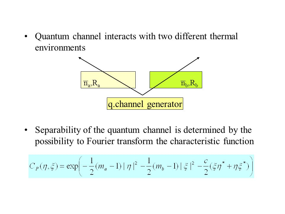 Quantum channel interacts with two different thermal environments Separability of the quantum channel is determined by the possibility to Fourier transform the characteristic function q.channel generator n a,R a n b,R b