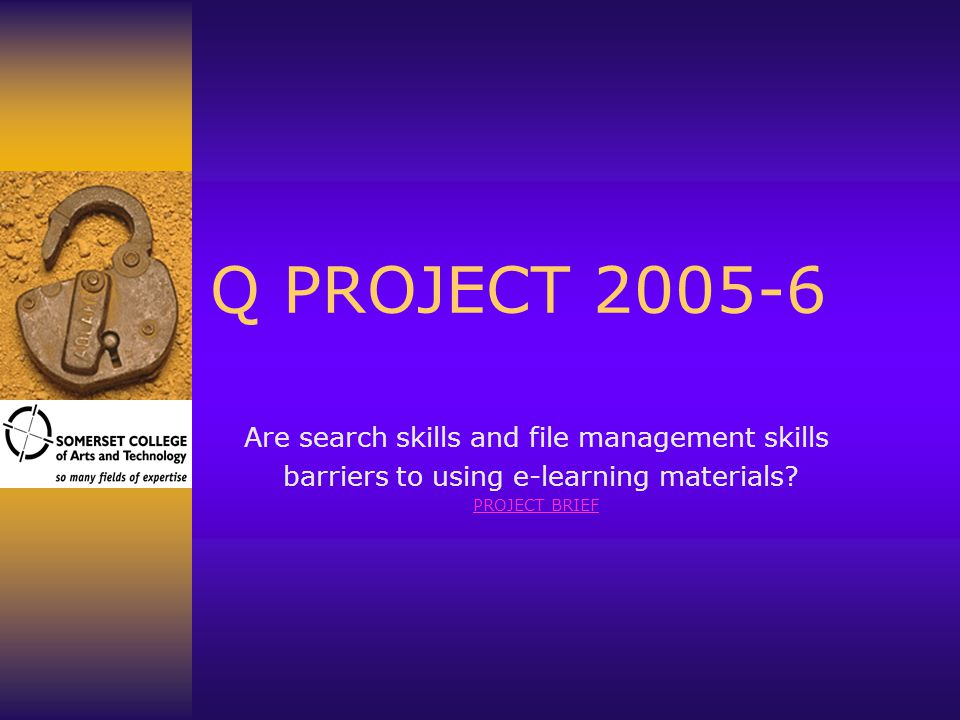 Q PROJECT 2005-6 Are search skills and file management skills barriers to using e-learning materials.