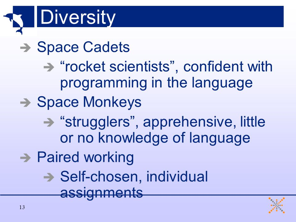 13 Diversity  Space Cadets  rocket scientists , confident with programming in the language  Space Monkeys  strugglers , apprehensive, little or no knowledge of language  Paired working  Self-chosen, individual assignments