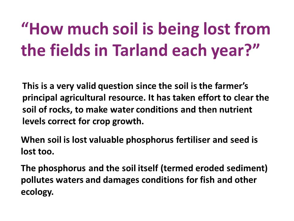 How much soil is being lost from the fields in Tarland each year This is a very valid question since the soil is the farmer's principal agricultural resource.