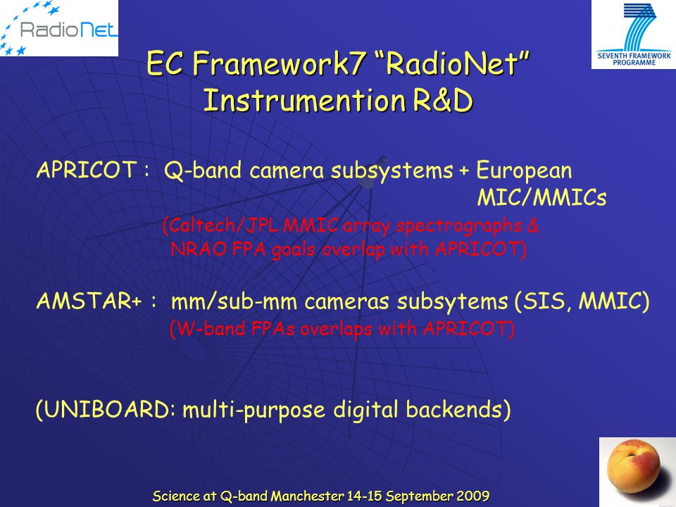"Science at Q-band Manchester 14-15 September 2009 EC Framework7 ""RadioNet"" Instrumention R&D APRICOT : Q-band camera subsystems + European MIC/MMICs ("