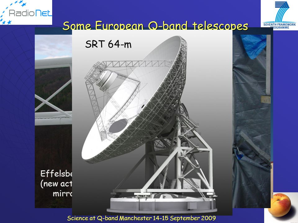 Science at Q-band Manchester 14-15 September 2009 Yebes-40m Effelsberg-100m (new active 2 ry mirror) Some European Q-band telescopes SRT 64-m