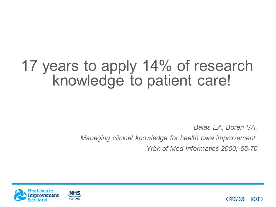 17 years to apply 14% of research knowledge to patient care.