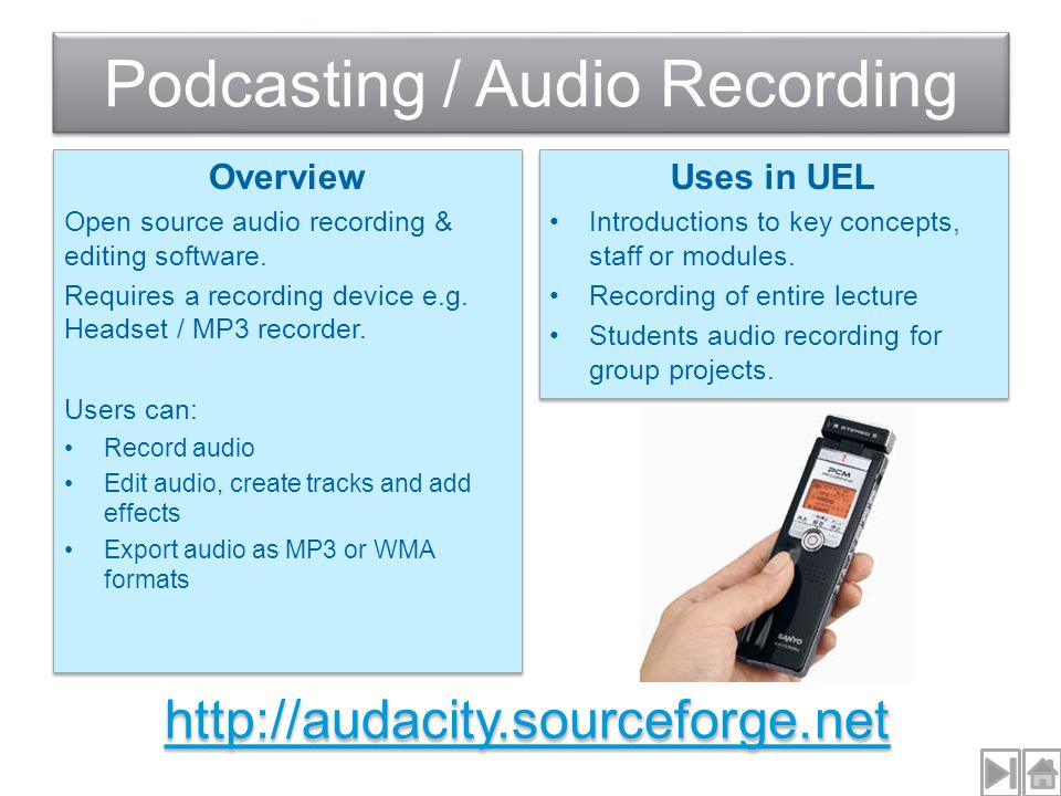 Overview Open source audio recording & editing software.