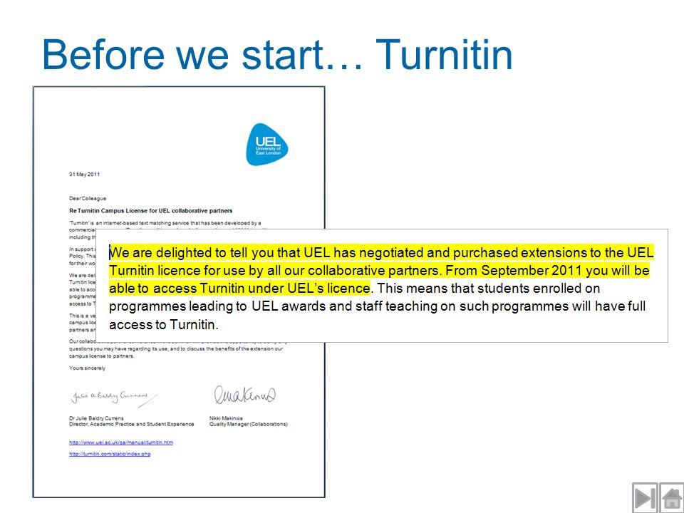 Before we start… Turnitin