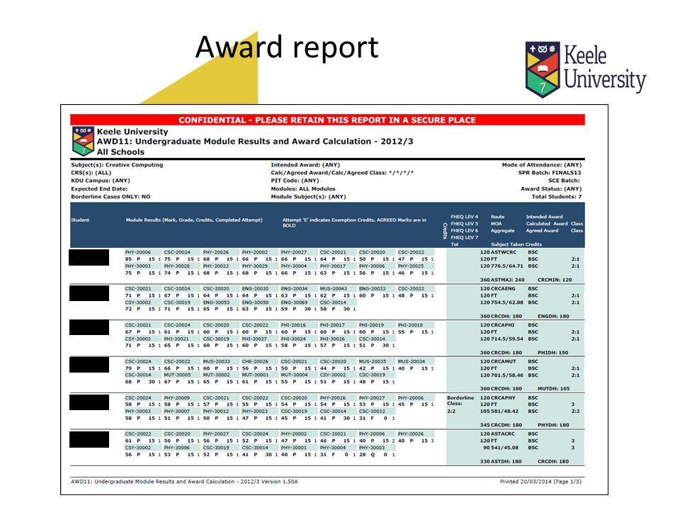 Award report