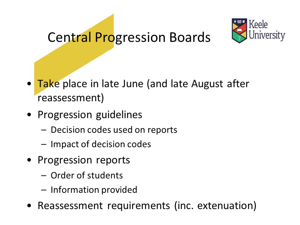 Central Progression Boards Take place in late June (and late August after reassessment) Progression guidelines –Decision codes used on reports –Impact of decision codes Progression reports –Order of students –Information provided Reassessment requirements (inc.