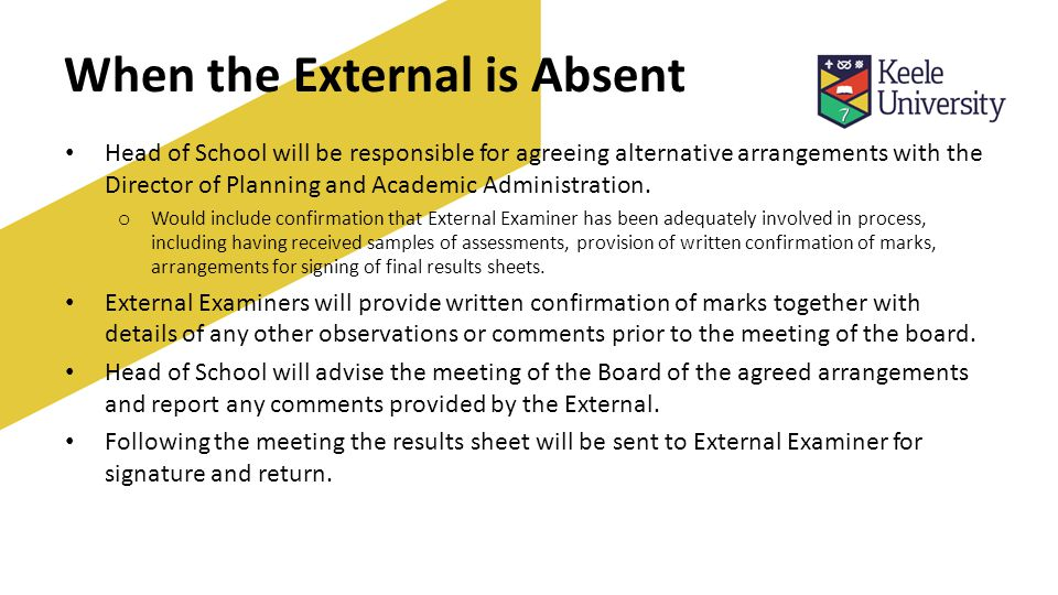 When the External is Absent Head of School will be responsible for agreeing alternative arrangements with the Director of Planning and Academic Administration.