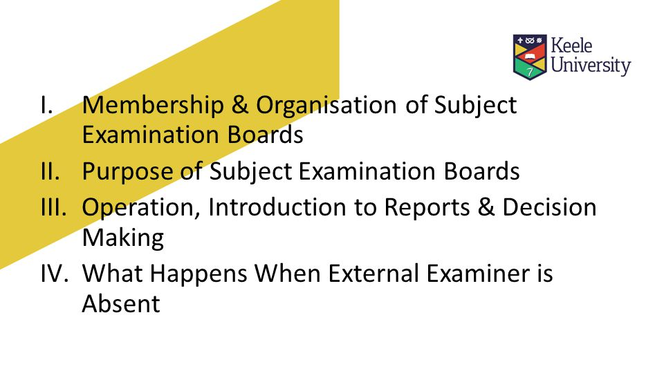 I.Membership & Organisation of Subject Examination Boards II.Purpose of Subject Examination Boards III.Operation, Introduction to Reports & Decision Making IV.What Happens When External Examiner is Absent