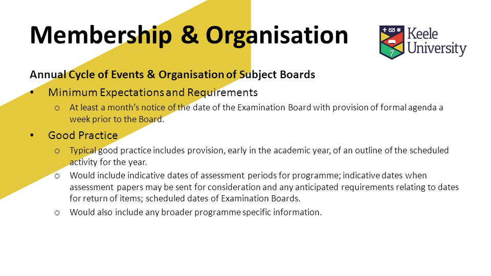 Membership & Organisation Annual Cycle of Events & Organisation of Subject Boards Minimum Expectations and Requirements o At least a month's notice of the date of the Examination Board with provision of formal agenda a week prior to the Board.