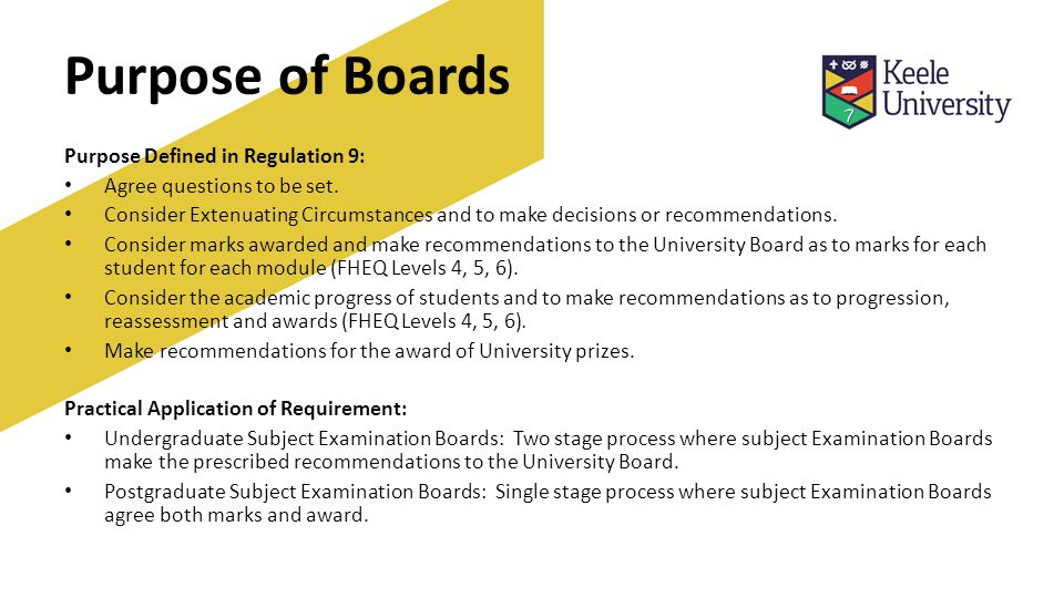 Purpose of Boards Purpose Defined in Regulation 9: Agree questions to be set.