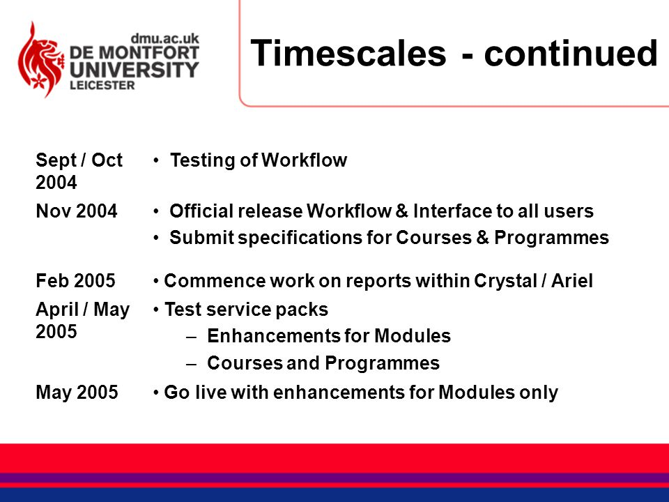 Timescales - continued Sept / Oct 2004 Testing of Workflow Nov 2004 Official release Workflow & Interface to all users Submit specifications for Cours