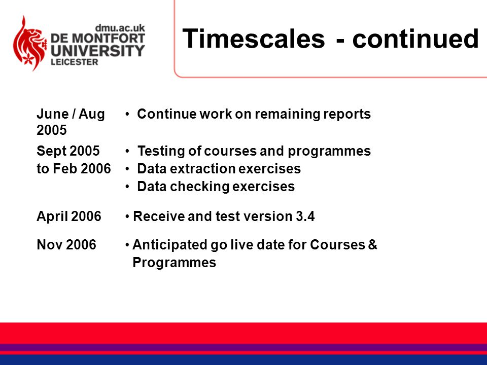 Timescales - continued June / Aug 2005 Continue work on remaining reports Sept 2005 to Feb 2006 Testing of courses and programmes Data extraction exer