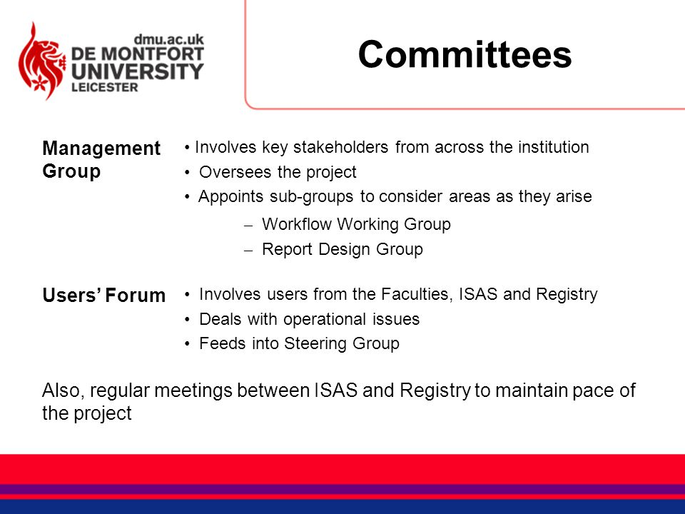 Committees Management Group Involves key stakeholders from across the institution Oversees the project Appoints sub-groups to consider areas as they a