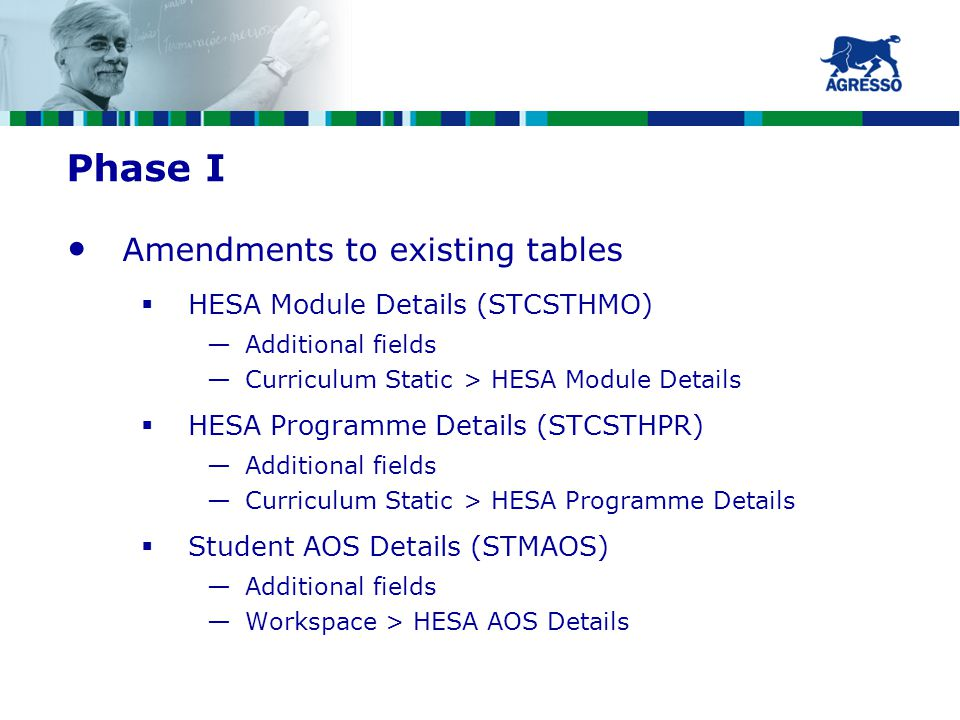 Phase I Amendments to existing tables  HESA Module Details (STCSTHMO) —Additional fields —Curriculum Static > HESA Module Details  HESA Programme Details (STCSTHPR) —Additional fields —Curriculum Static > HESA Programme Details  Student AOS Details (STMAOS) —Additional fields —Workspace > HESA AOS Details