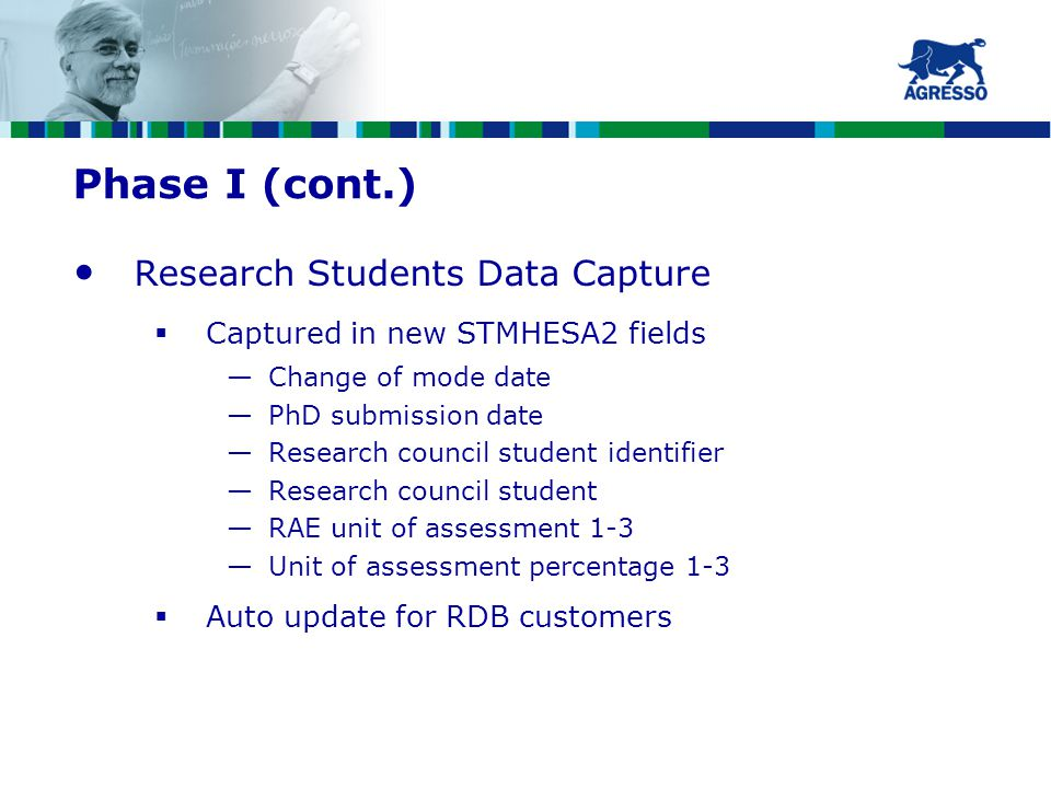 Phase I (cont.) Research Students Data Capture  Captured in new STMHESA2 fields —Change of mode date —PhD submission date —Research council student identifier —Research council student —RAE unit of assessment 1-3 —Unit of assessment percentage 1-3  Auto update for RDB customers