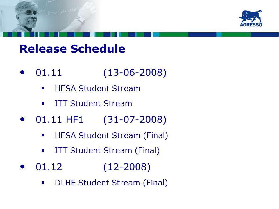 Release Schedule 01.11 (13-06-2008)  HESA Student Stream  ITT Student Stream 01.11 HF1(31-07-2008)  HESA Student Stream (Final)  ITT Student Stream (Final) 01.12(12-2008)  DLHE Student Stream (Final)