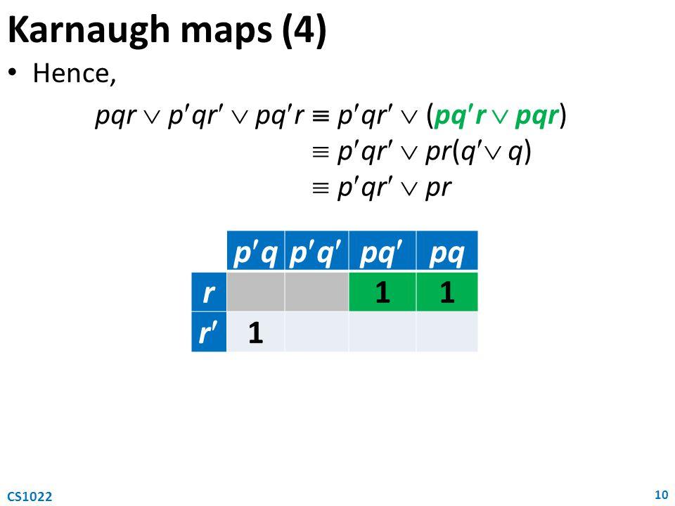 Karnaugh maps (4) Hence, 10 CS1022 pqpqpqpqpq r11 r 1 pqr  pqr  pqr  pqr  (pqr  pqr)  pqr  pr(q  q)  pqr  pr
