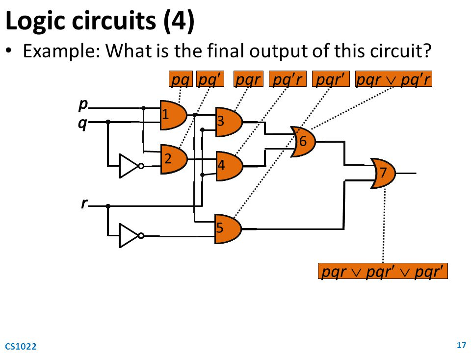 4 3 2 1 p q r 5 6 7 Example: What is the final output of this circuit.