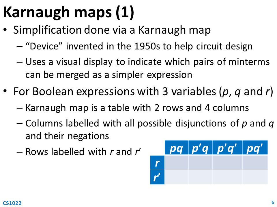 Karnaugh maps (1) Simplification done via a Karnaugh map – Device invented in the 1950s to help circuit design – Uses a visual display to indicate which pairs of minterms can be merged as a simpler expression For Boolean expressions with 3 variables (p, q and r) – Karnaugh map is a table with 2 rows and 4 columns – Columns labelled with all possible disjunctions of p and q and their negations – Rows labelled with r and r 6 CS1022 pq pqpqpqpq r r