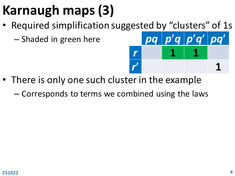 Karnaugh maps (3) Required simplification suggested by clusters of 1s – Shaded in green here There is only one such cluster in the example – Corresponds to terms we combined using the laws 8 CS1022 pq pqpqpqpq r11 r 1