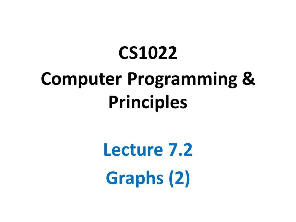 CS1022 Computer Programming & Principles Lecture 7.2 Graphs (2)