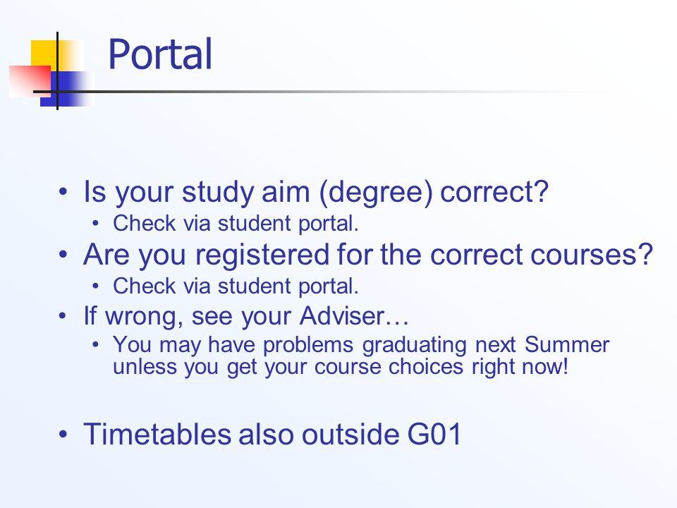 Portal Is your study aim (degree) correct. Check via student portal.