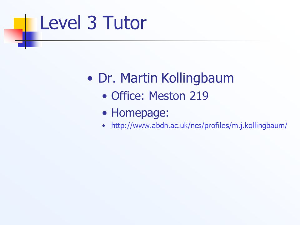 Level 1 and Level 4 Tutor Frank Guerin Office: Meston 227 Homepage: http://www.abdn.ac.uk/~csc245 Teaches Level 1 Course CS1015 Grand Challenges of Artificial Intelligence