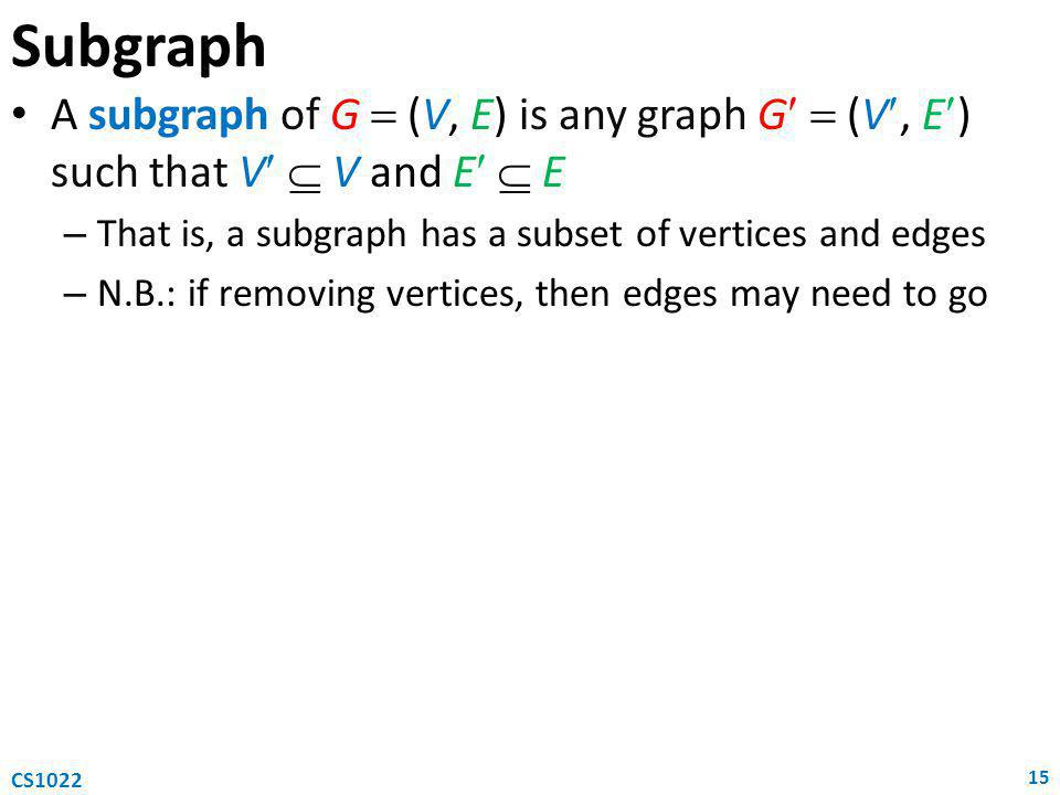 Subgraph A subgraph of G  (V, E) is any graph G  (V, E) such that V  V and E  E – That is, a subgraph has a subset of vertices and edges – N.B.: if removing vertices, then edges may need to go 15 CS1022