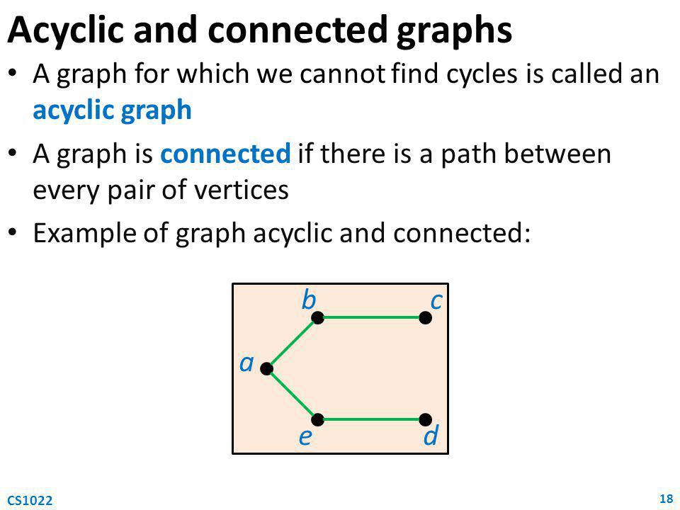 Acyclic and connected graphs A graph for which we cannot find cycles is called an acyclic graph A graph is connected if there is a path between every pair of vertices Example of graph acyclic and connected: 18 CS1022 a b e c d